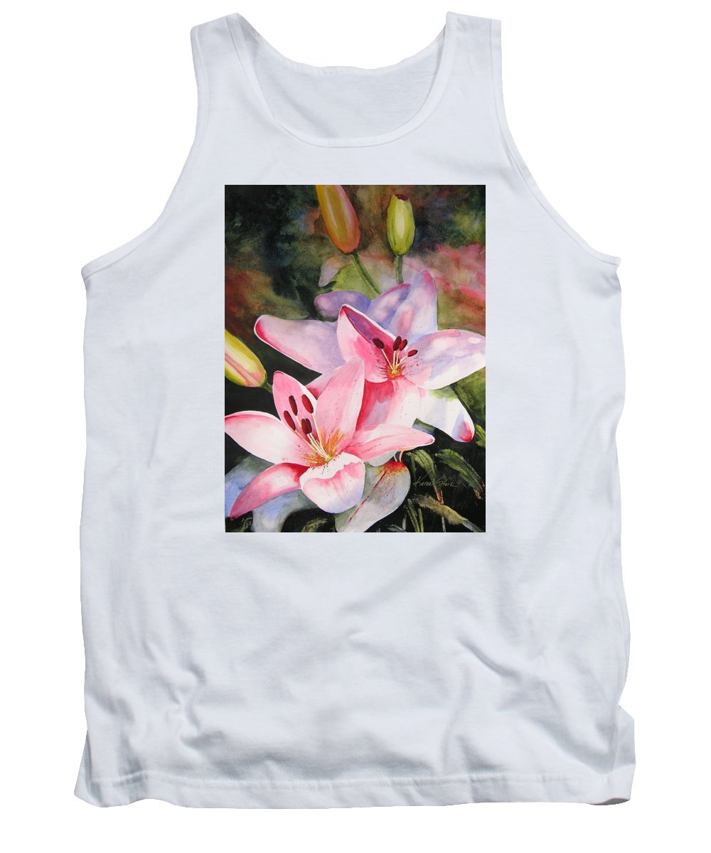 Lilies Tank Top featuring the painting Shady Ladies by Karen Stark