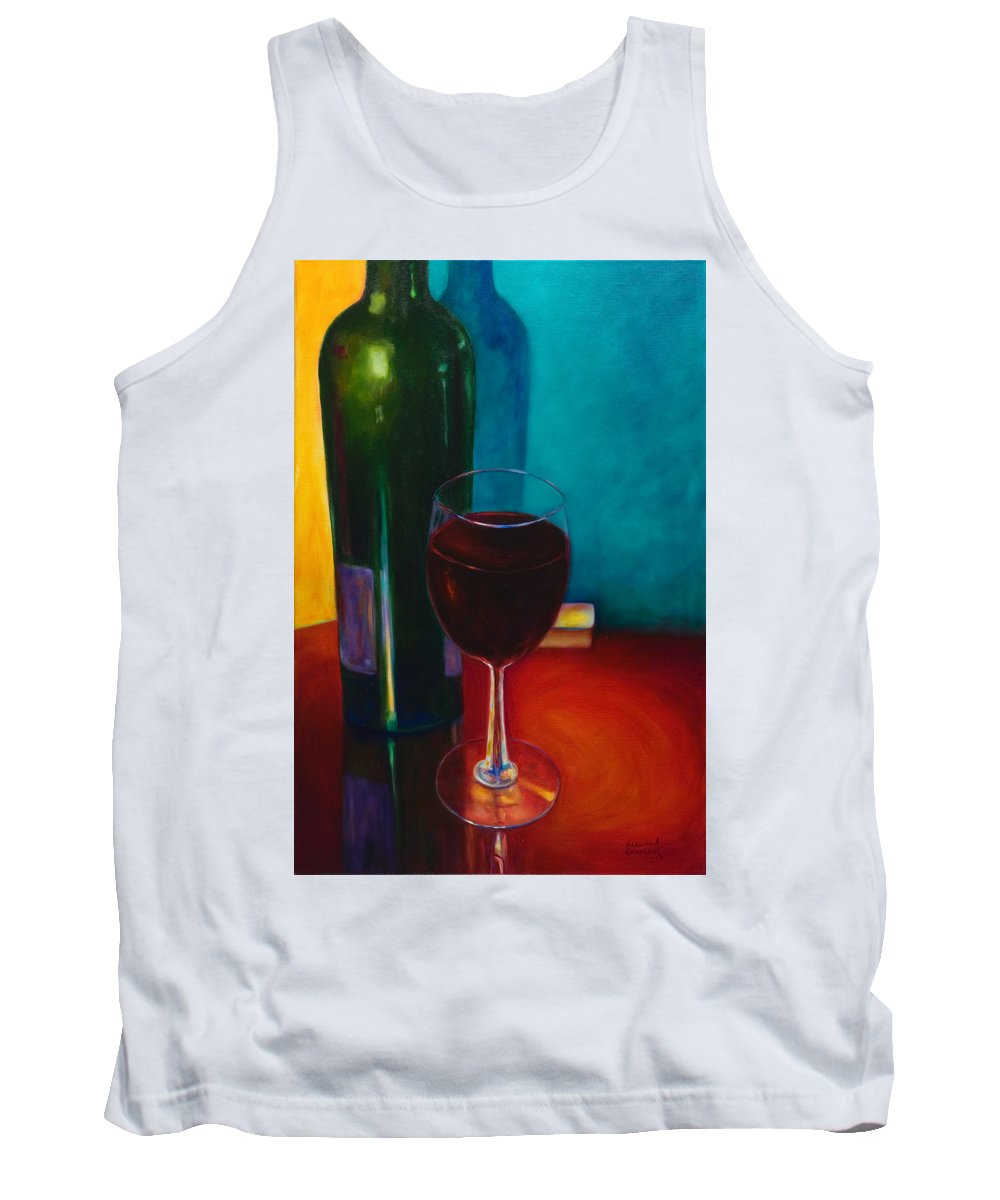 Wine Bottle Tank Top featuring the painting Shannon's Red by Shannon Grissom
