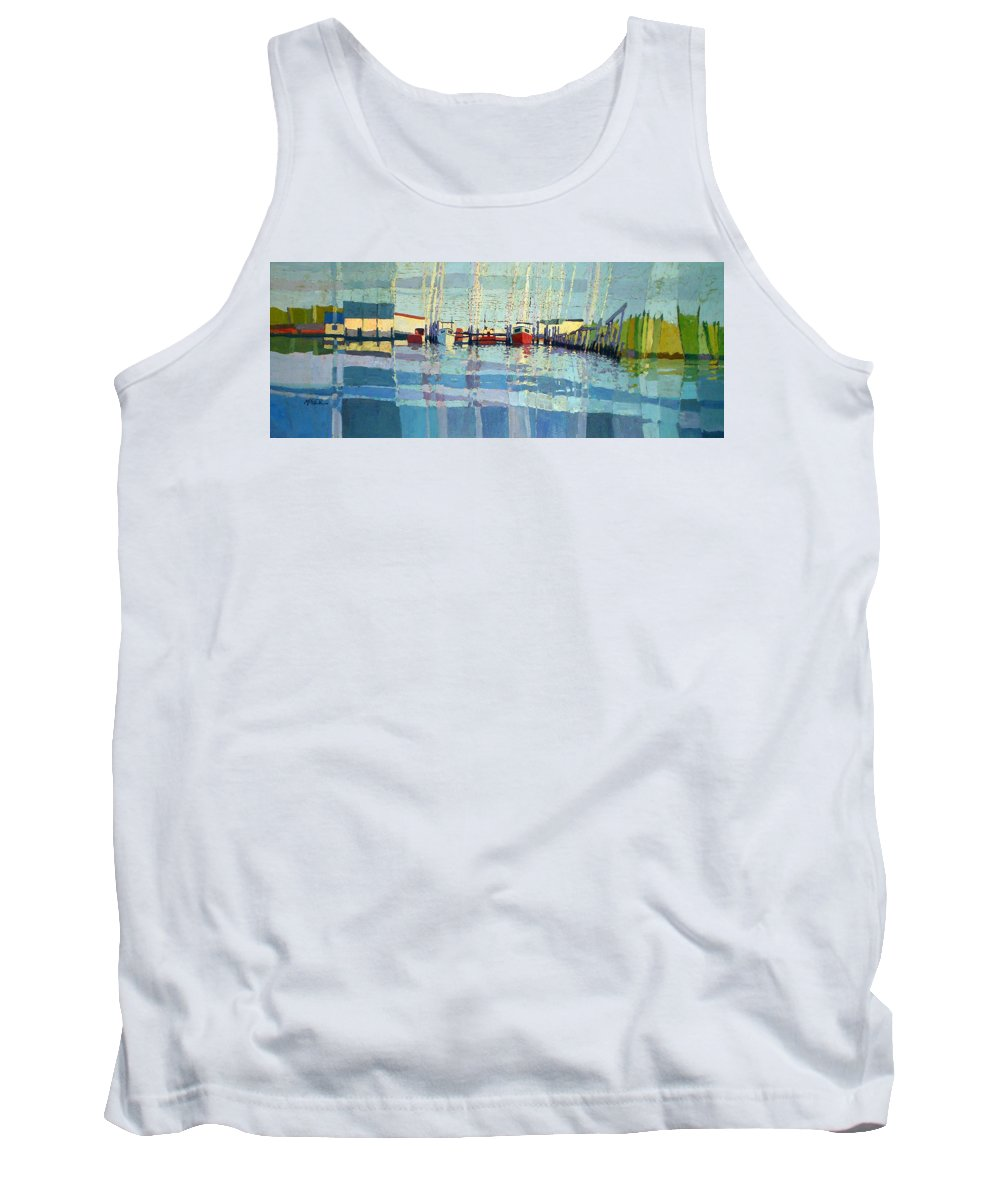 Belmar Inlet Tank Top featuring the painting Shark River Inlet by Donald Maier