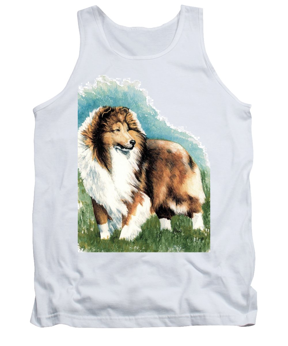 Shetland Sheepdog Tank Top featuring the painting Sheltie Watch by Kathleen Sepulveda