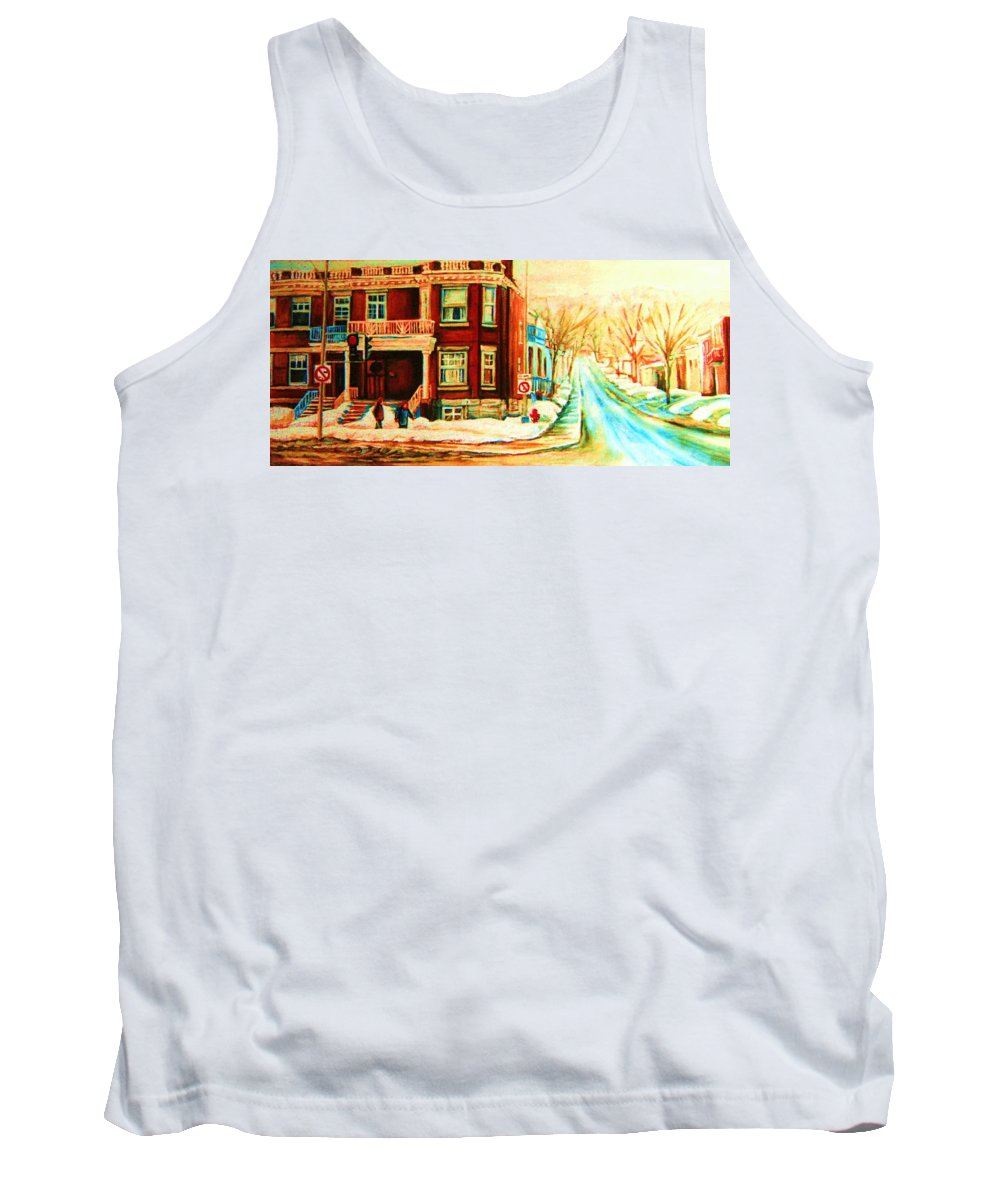 Montreal Tank Top featuring the painting Sherbrooke In Winter by Carole Spandau