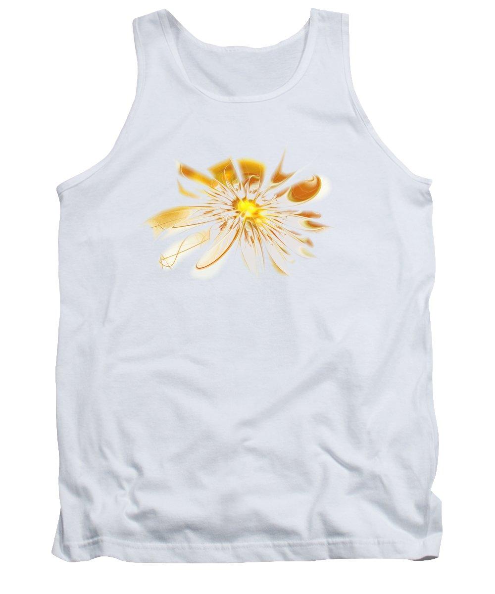 Shine Tank Top featuring the digital art Shining Yellow Flower by Anastasiya Malakhova
