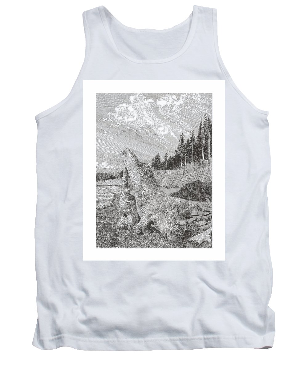 Nautical Marine Driftwood Tank Top featuring the drawing Shipwrecked by Jack Pumphrey