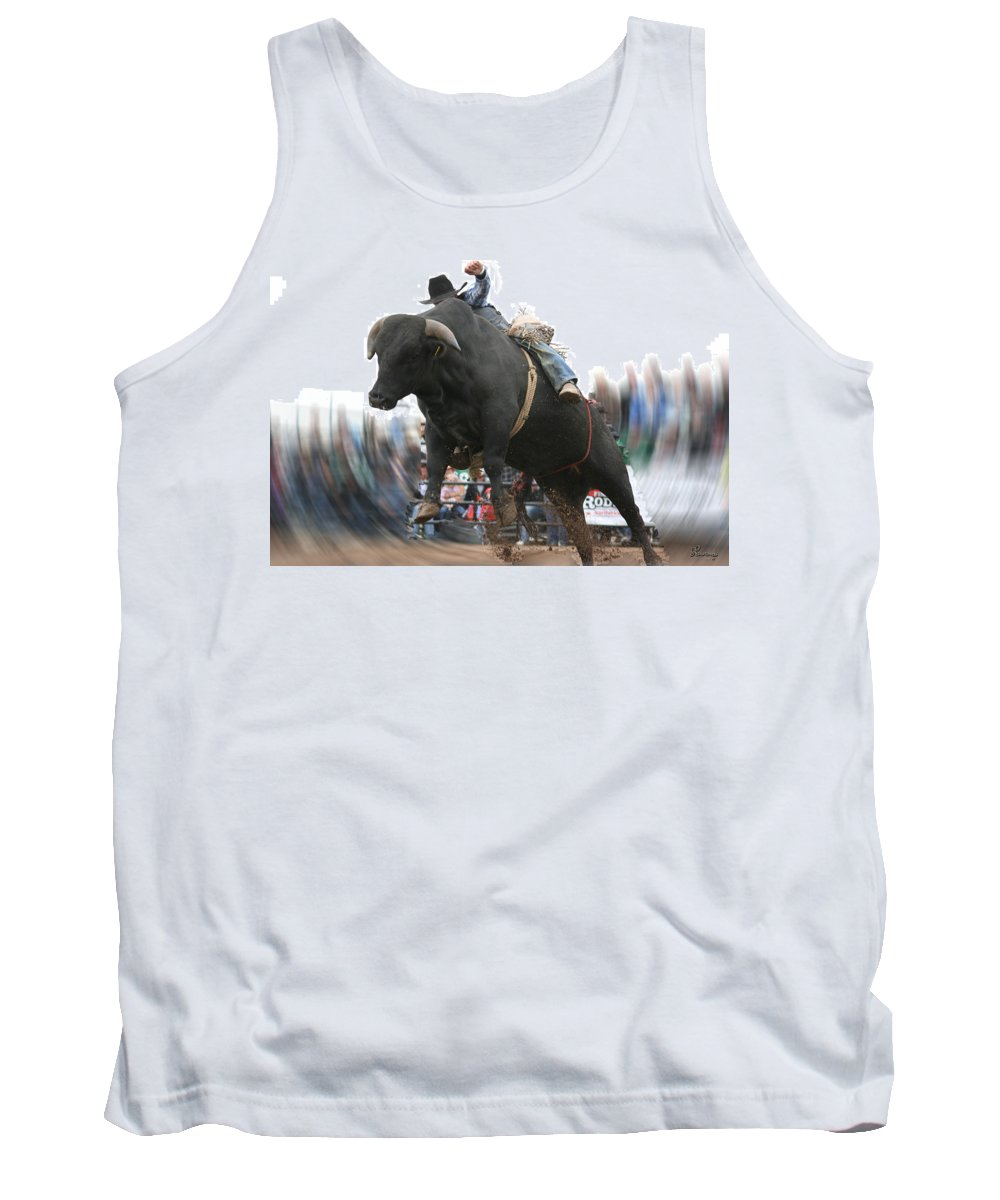 Cowboy Bull Riding Cow Rodeo Falling Entertainment Tank Top featuring the photograph Sideways by Andrea Lawrence