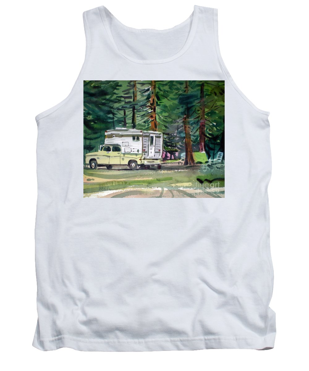 Camping Tank Top featuring the painting Sierra Campsite by Donald Maier