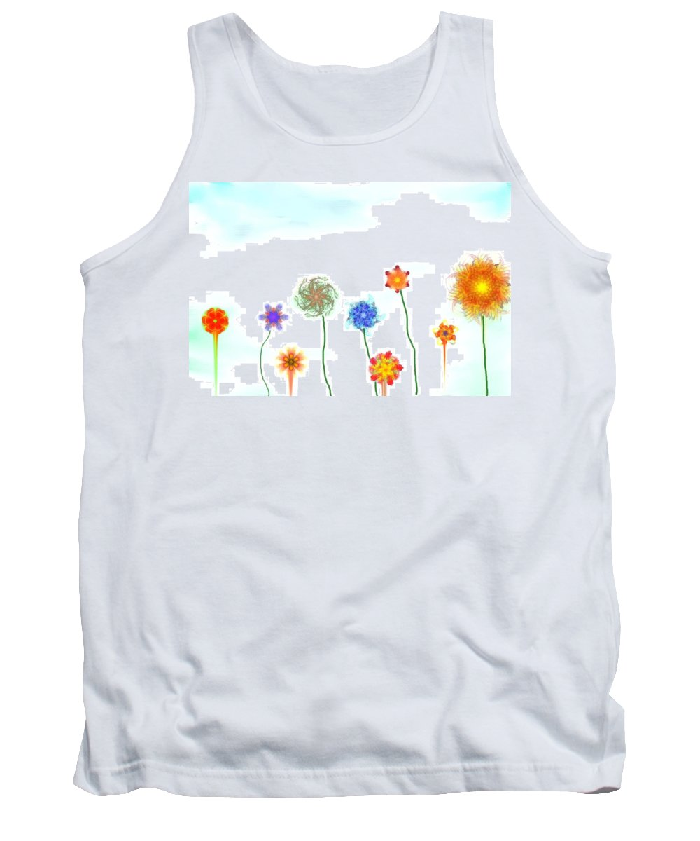 Fantasy Tank Top featuring the digital art Silly Fractal Garden by David Lane