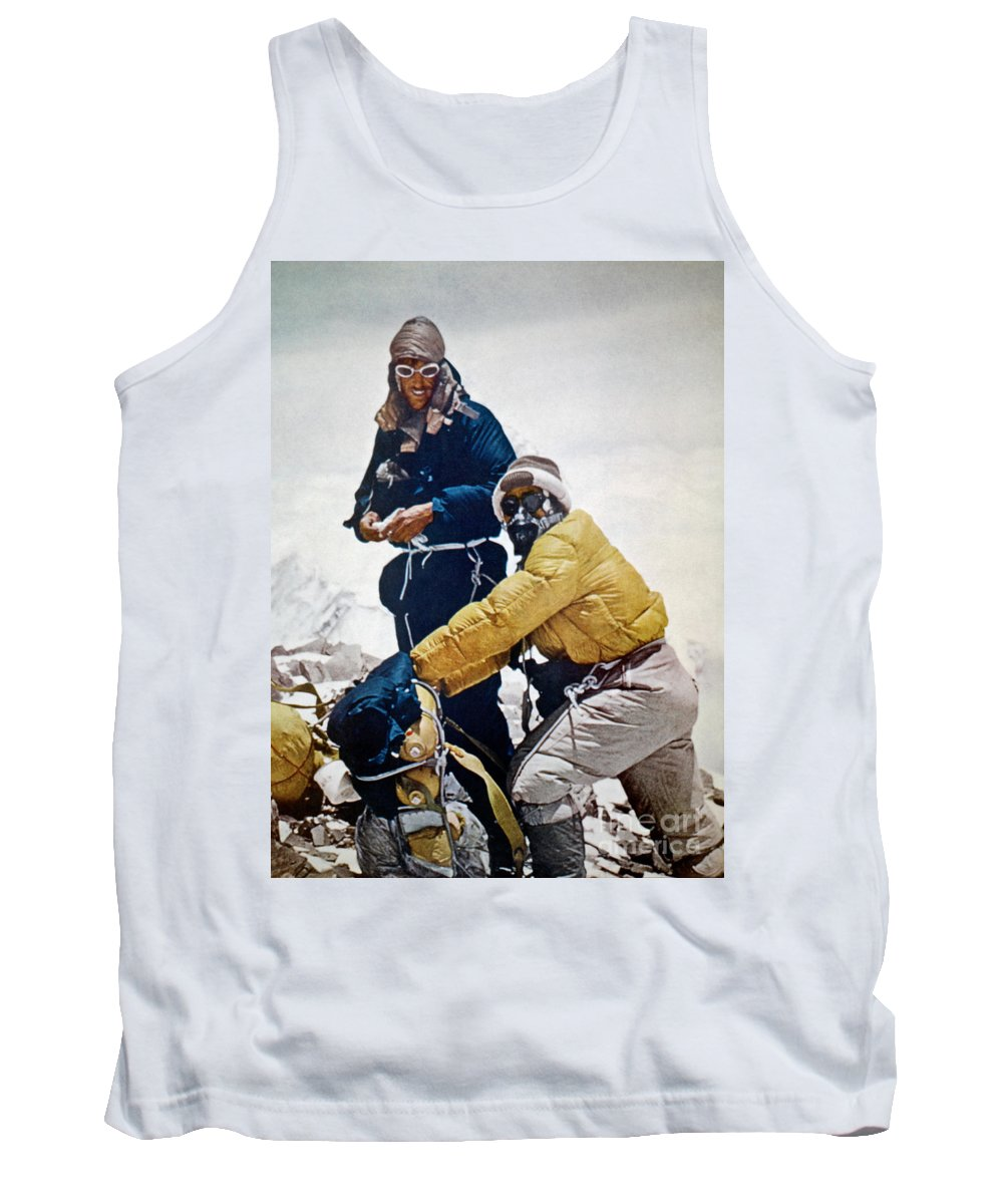1953 Tank Top featuring the painting Sir Edmund Hillary by Granger