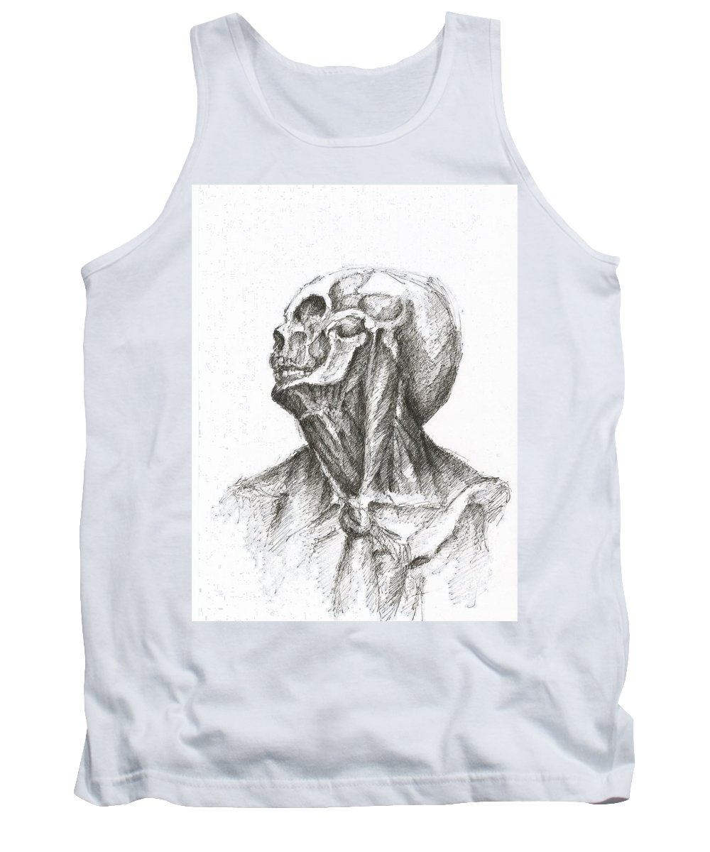 Skinless Skull Bones Skinned Flesh Creepy Dark Pen Paper Drawing Tank Top featuring the drawing Skinless by Lampros Christakis