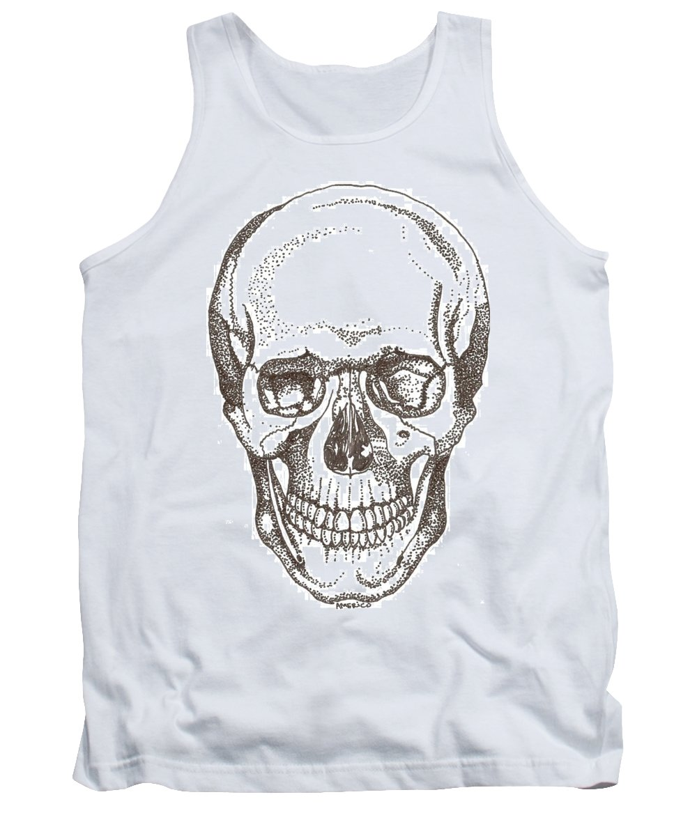 Skull Tank Top featuring the drawing Skull by Americo Salazar