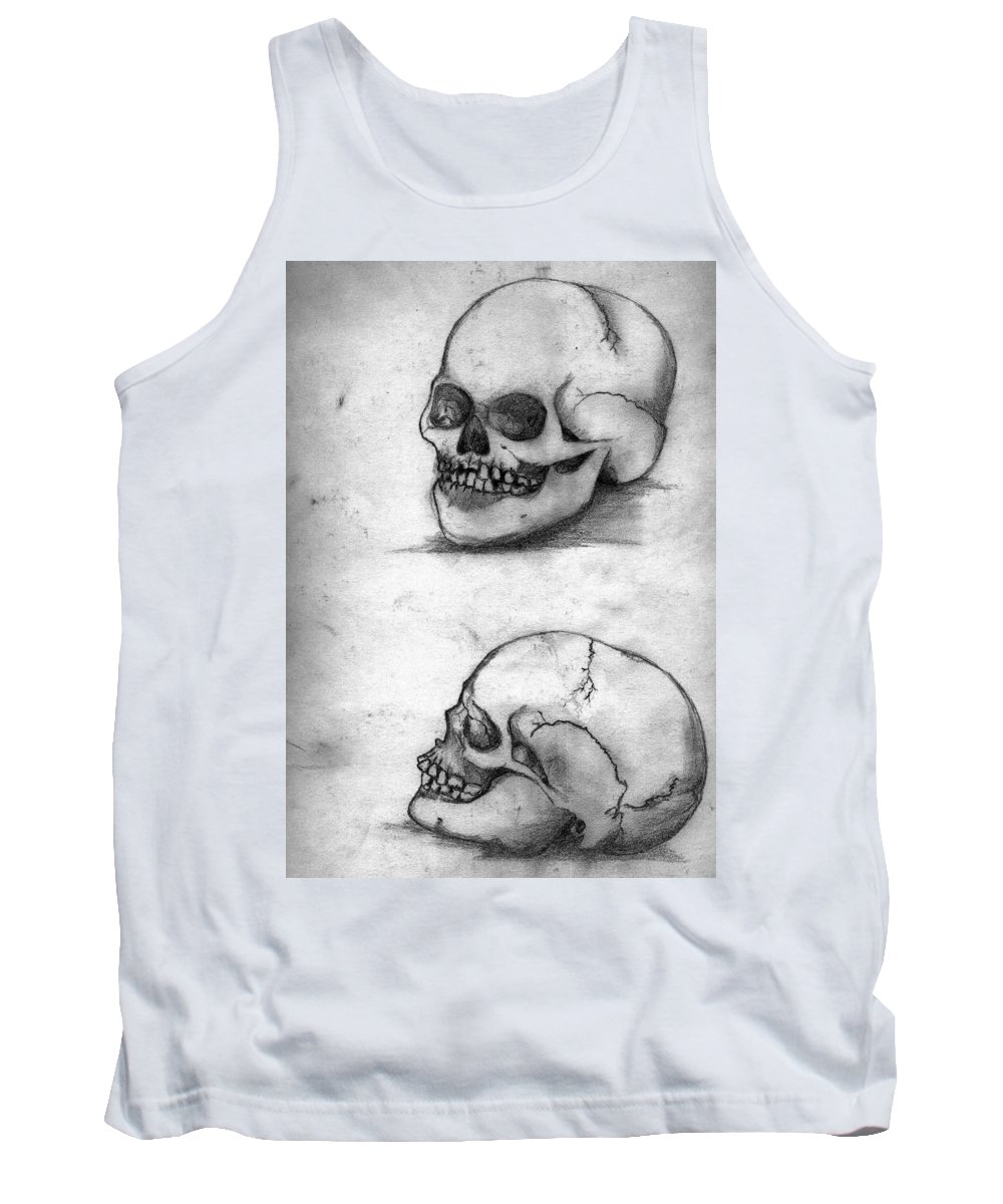 Skull Tank Top featuring the drawing Skull Drawing by Alban Dizdari