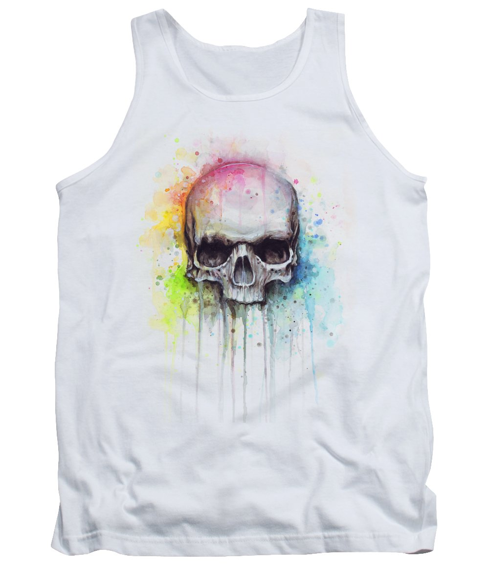 Skull Tank Top featuring the painting Skull Watercolor Painting by Olga Shvartsur
