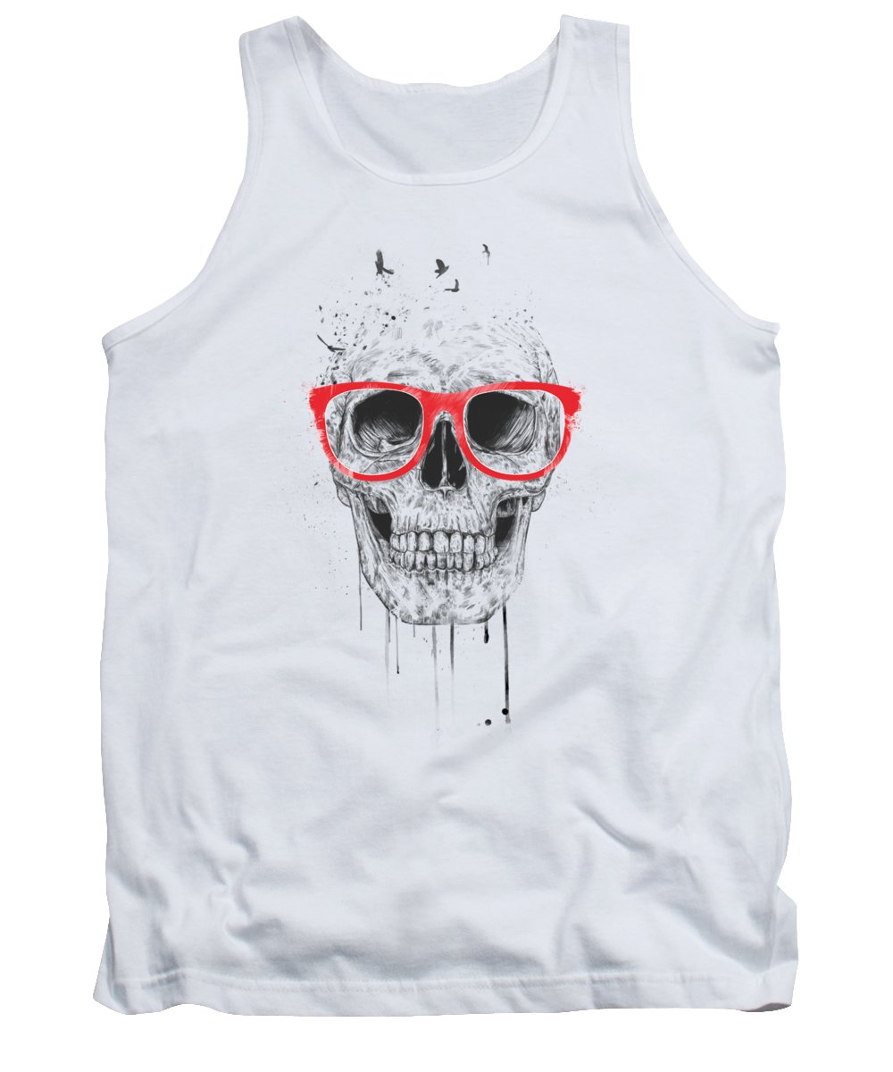 Skull Tank Top featuring the mixed media Skull with red glasses by Balazs Solti