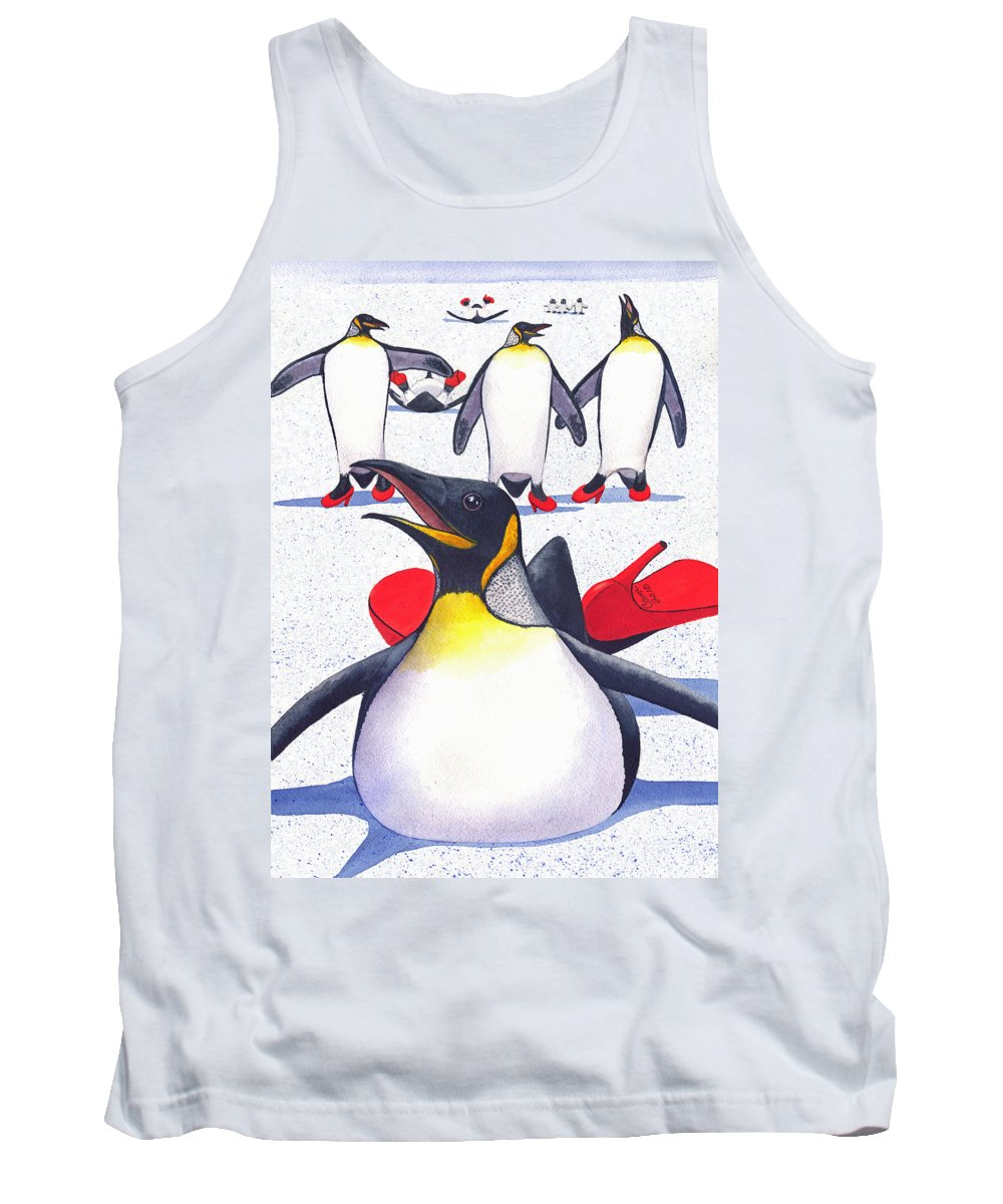 Penguin Tank Top featuring the painting Sliding In Style by Catherine G McElroy