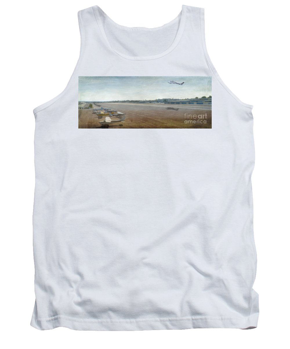 City Airport Tank Top featuring the photograph Small City Airport Plane Taking Off Runway by David Zanzinger
