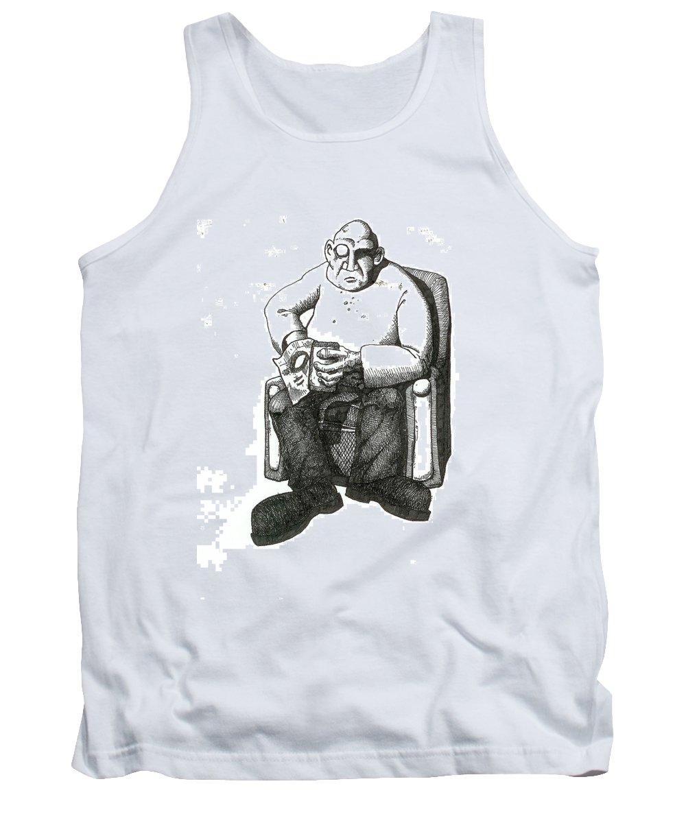 Buddha Tank Top featuring the drawing Snacks by Tobey Anderson
