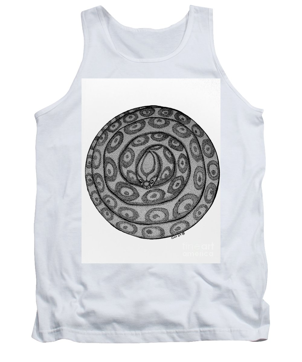 Animal Tank Top featuring the drawing Snake Ball by Nick Gustafson