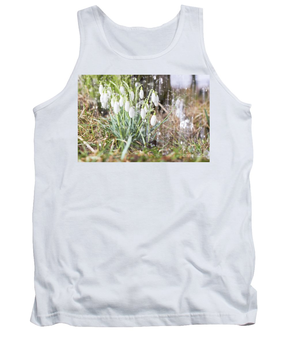 Snowdrop Tank Top featuring the photograph Snowdrops In The Garden Of Spring Rain 7 by Valdis Veinbergs