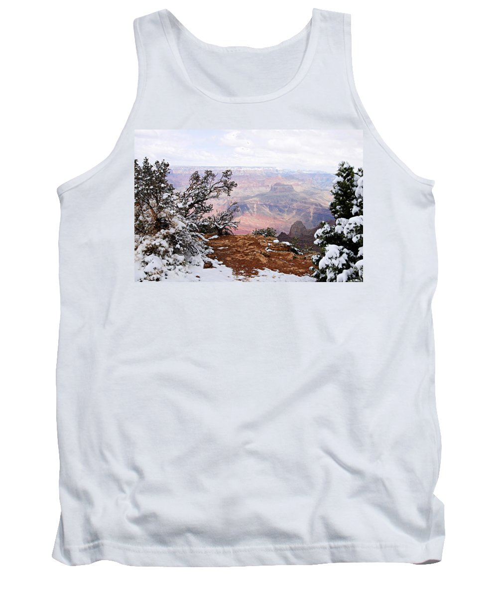 Grand Canyon National Park Tank Top featuring the photograph Snowy Frame - Grand Canyon by Larry Ricker