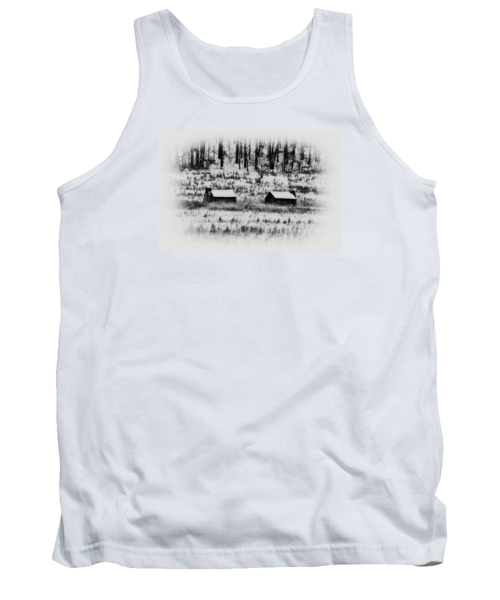 Log Tank Top featuring the photograph Snowy Log Cabins At Valley Forge by Bill Cannon