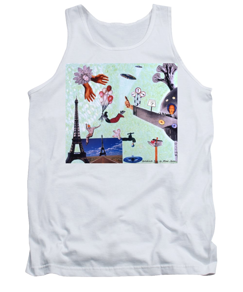 Eiffel Tower Tank Top featuring the drawing Soap Scene #27 Zelestial Headquarters by Minaz Jantz