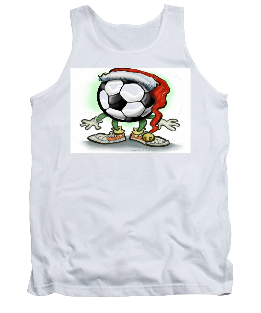 Soccer Tank Top featuring the greeting card Soccer Christmas by Kevin Middleton