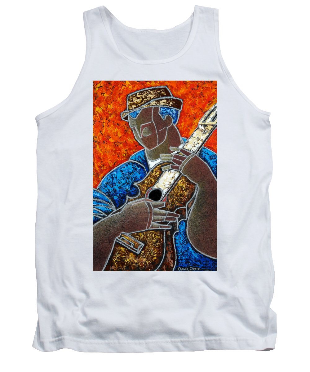 Puerto Rico Tank Top featuring the painting Solo De Cuatro by Oscar Ortiz
