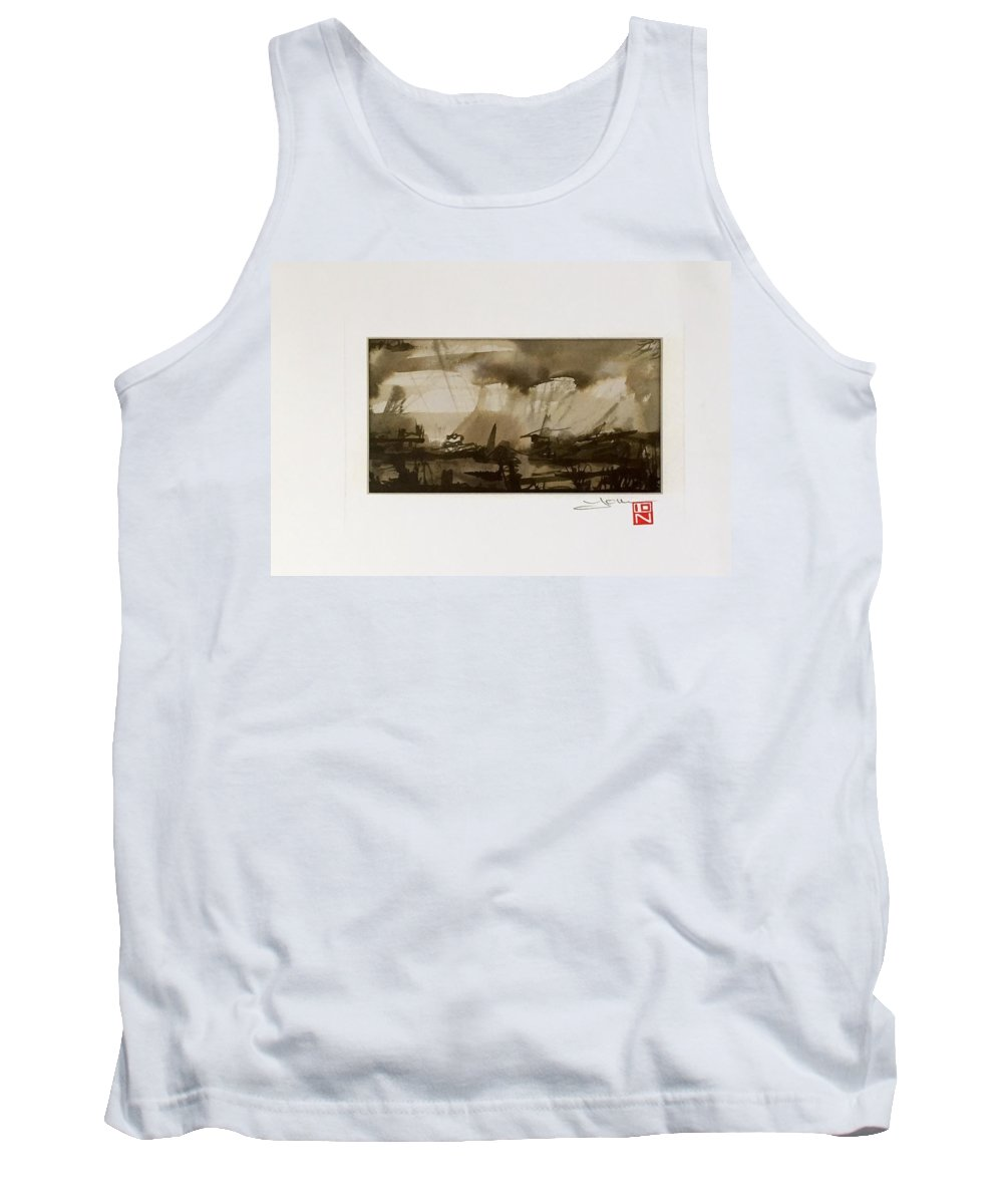 Abstract Tank Top featuring the painting Soul' Shadows by Ion Popa