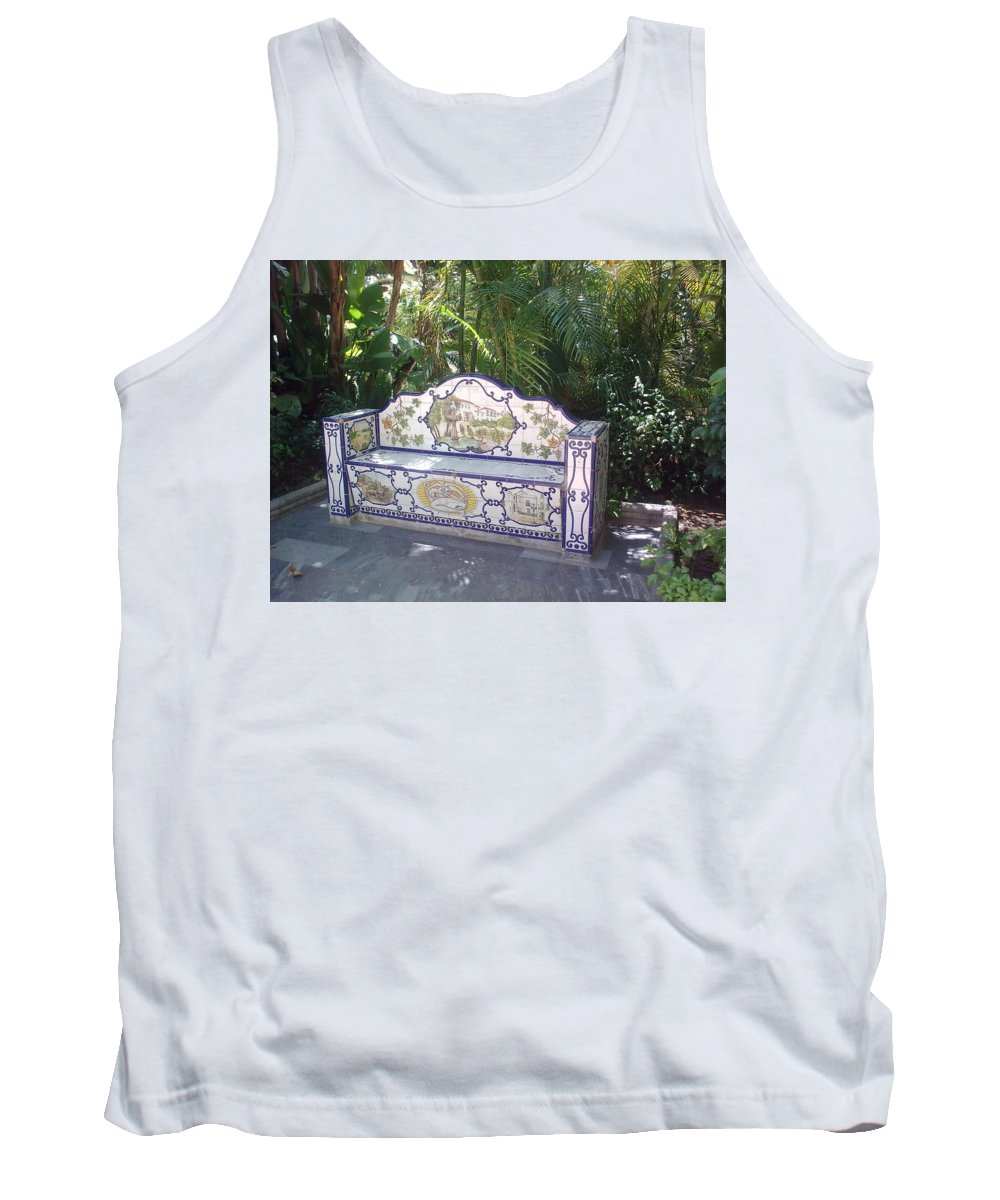 Bench Tank Top featuring the photograph Spanish Bench by Valerie Ornstein