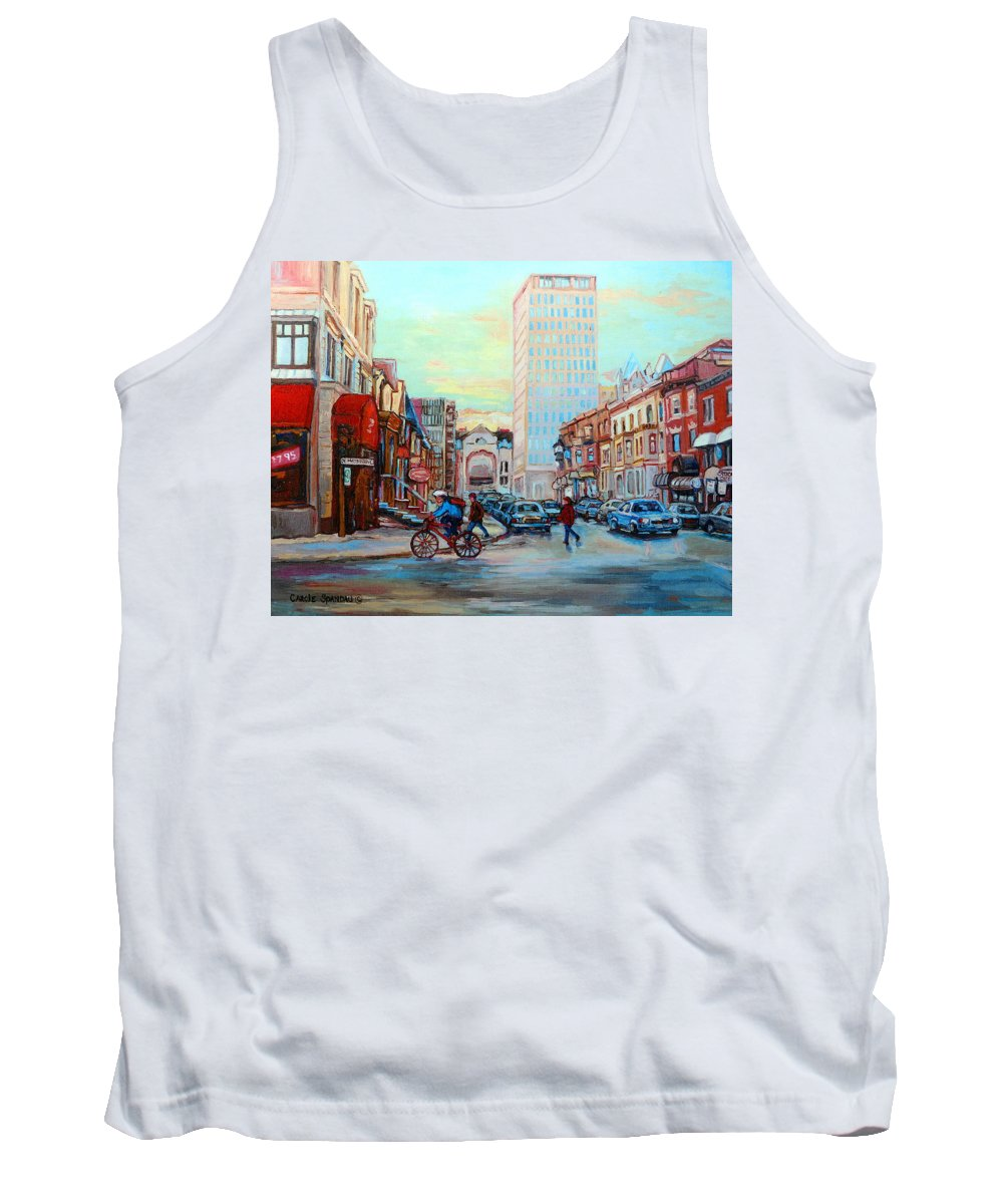 Montreal Tank Top featuring the painting Speed Cyclist On Crescent by Carole Spandau