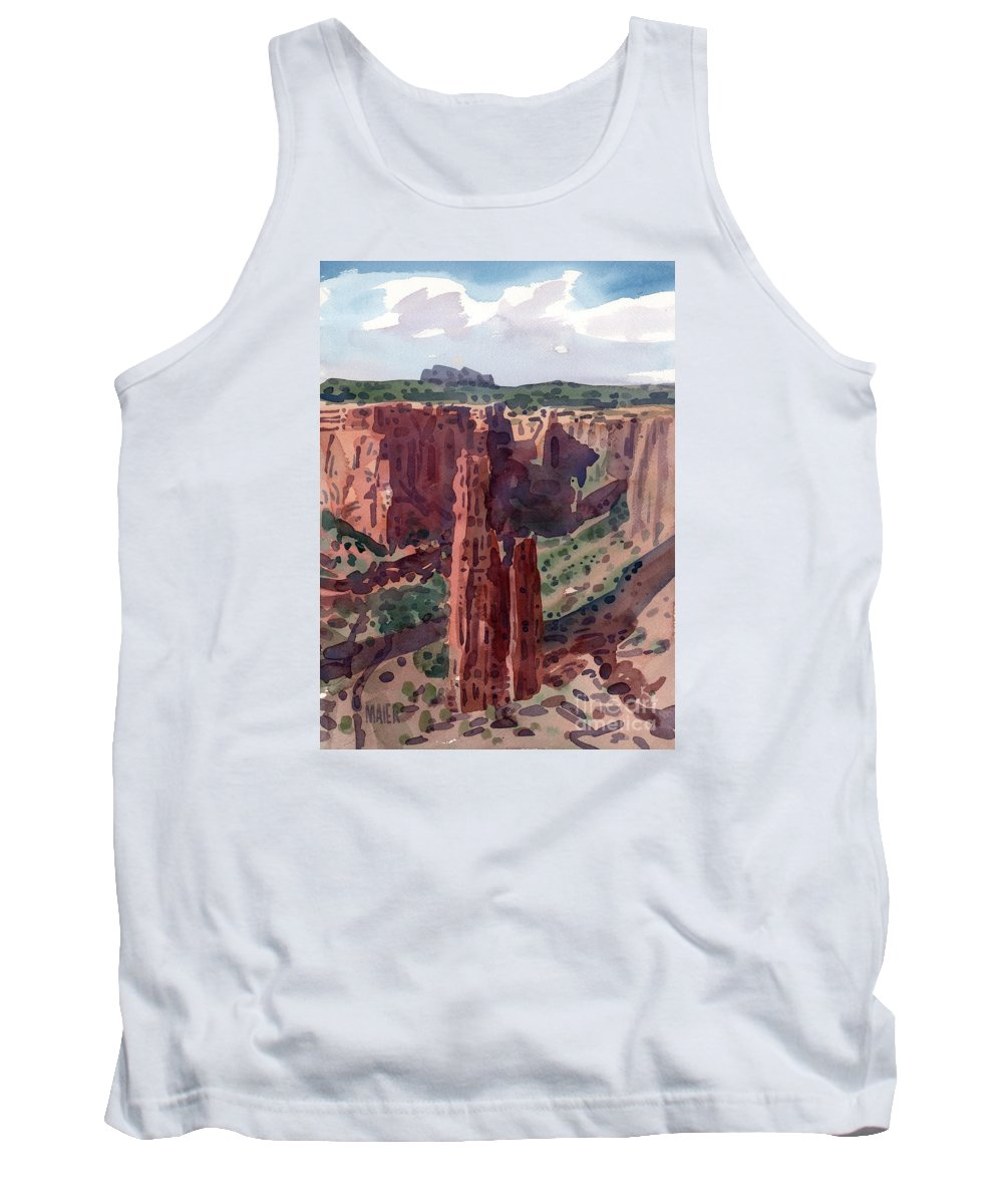 Spider Rock Tank Top featuring the painting Spider Rock Overlook by Donald Maier