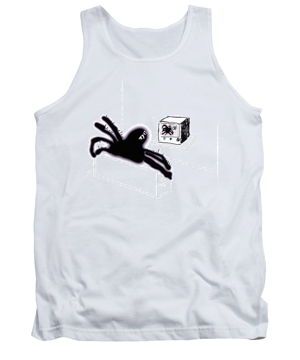 Animals Tank Top featuring the digital art Spiders Don't Watch Tv by Rob Keay