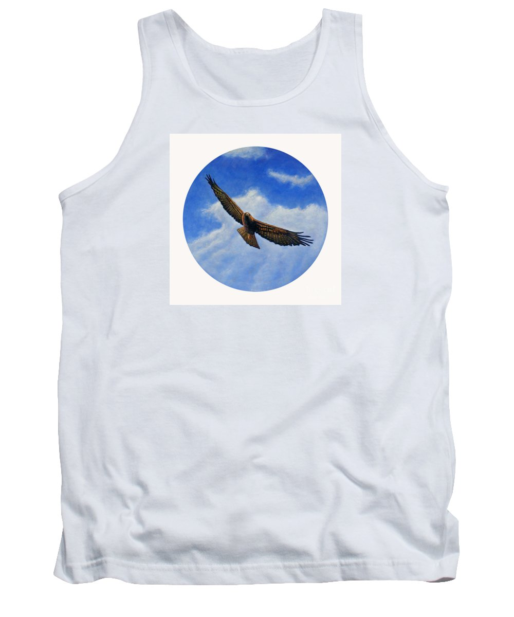 Hawk Tank Top featuring the painting Spirit In The Wind by Brian Commerford
