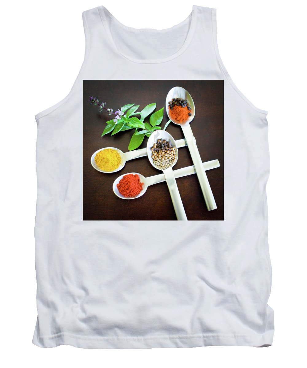 Food Tank Top featuring the photograph Spoons N Spices by Ferry Zievinger