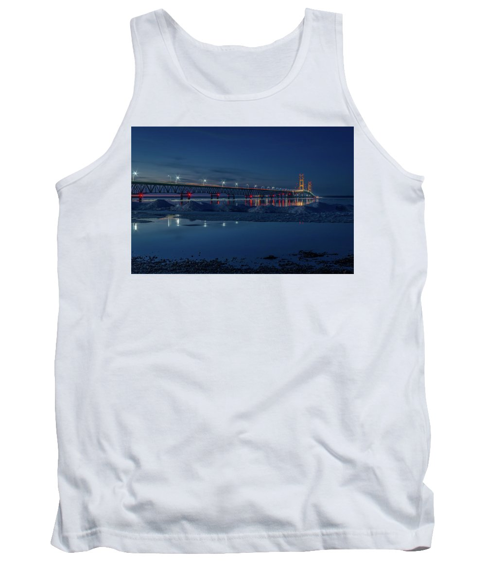 Mackinac Bridge Tank Top featuring the photograph Spring Evening At The Mackinac Bridge by Gary McCormick