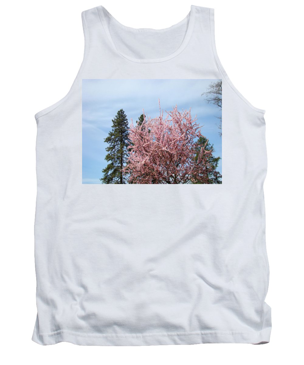 Trees Tank Top featuring the photograph Spring Trees Bossoming Landscape Art Prints Pink Blossoms Clouds Sky by Baslee Troutman