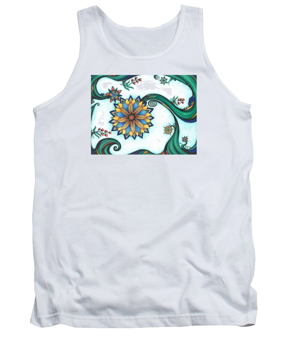 Art Nouveau Tank Top featuring the drawing Springtime Happiness by Jenn Wilson