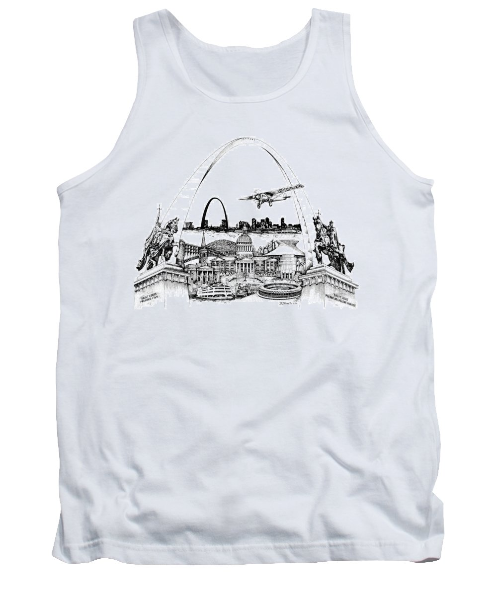 City Drawing Tank Top featuring the drawing St. Louis Highlights Version 1 by Dennis Bivens