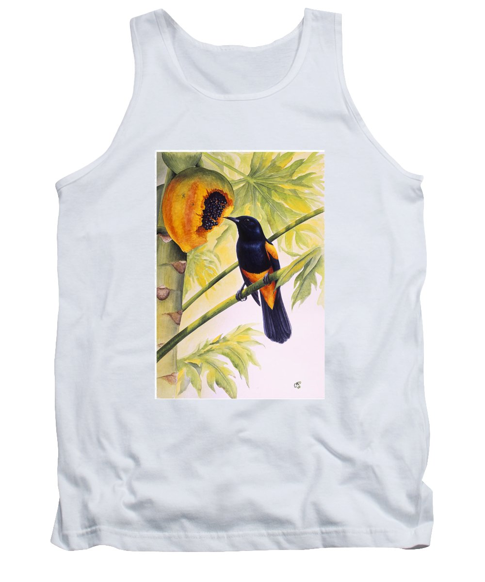 Chris Cox Tank Top featuring the painting St. Lucia Oriole and papaya by Christopher Cox