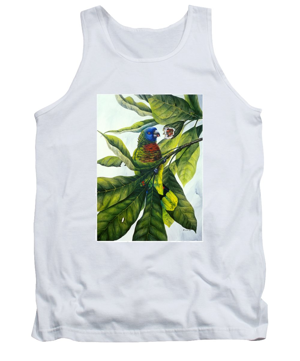 Chris Cox Tank Top featuring the painting St. Lucia Parrot And Fruit by Christopher Cox