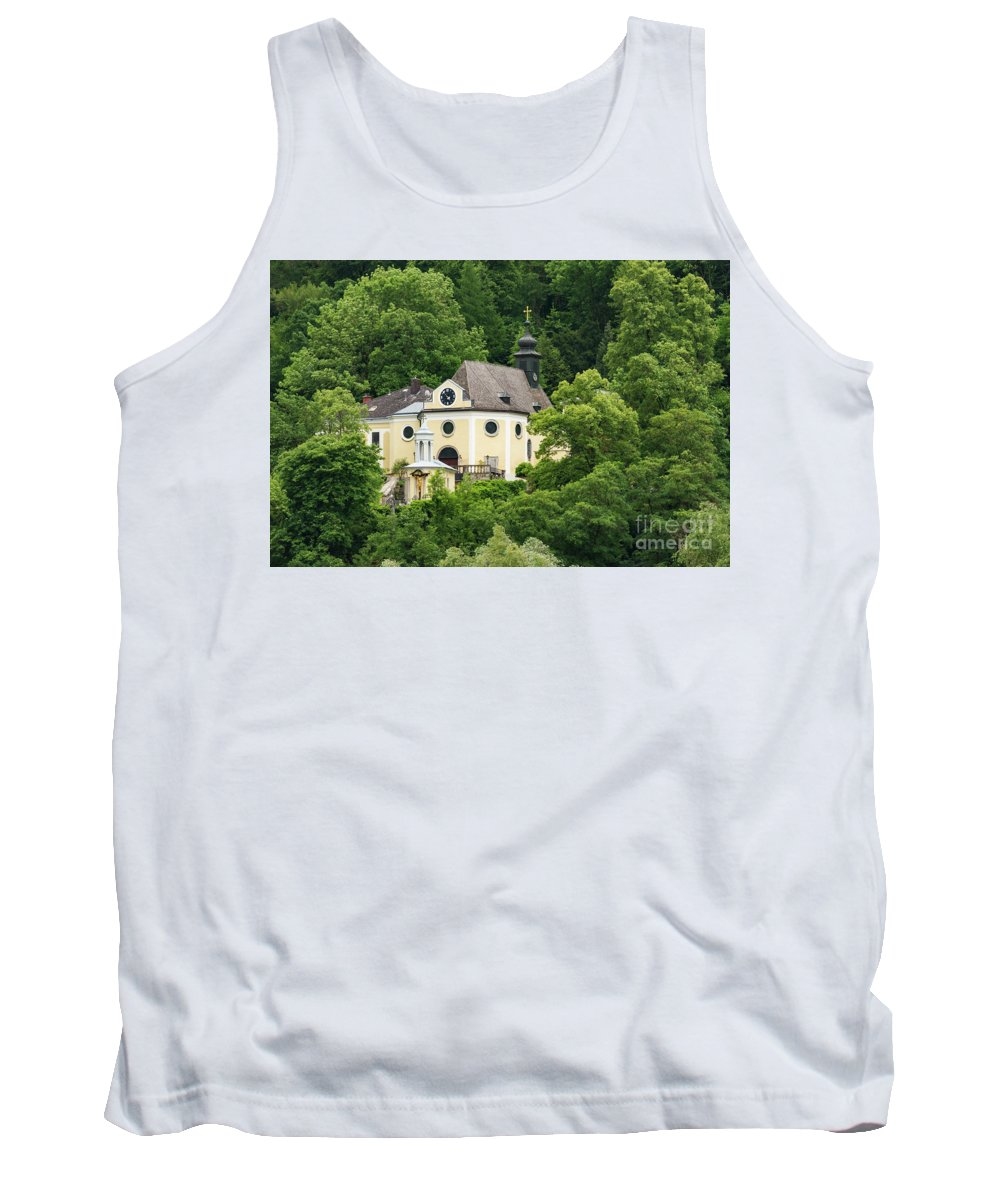 Linz Ausria St. Margarethen Kirche Church Churches Landscape Landscapes Place Of Worship Places Of Worship Building Buildings Structure Structures Architecture Tree Trees Tank Top featuring the photograph St. Margarethen Kirche by Bob Phillips