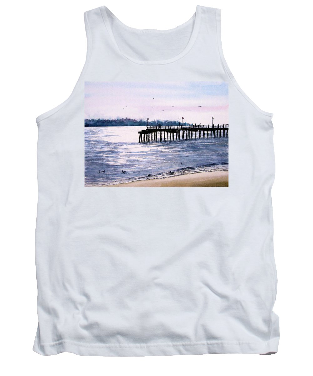 Fishing Tank Top featuring the painting St. Simons Island Fishing Pier by Sam Sidders