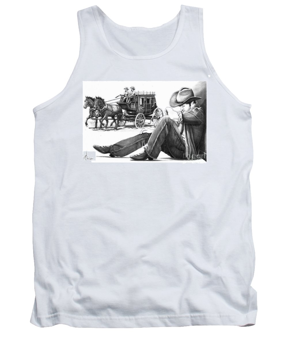 Pencil Tank Top featuring the drawing Stagecoach and Cowboy by Murphy Elliott