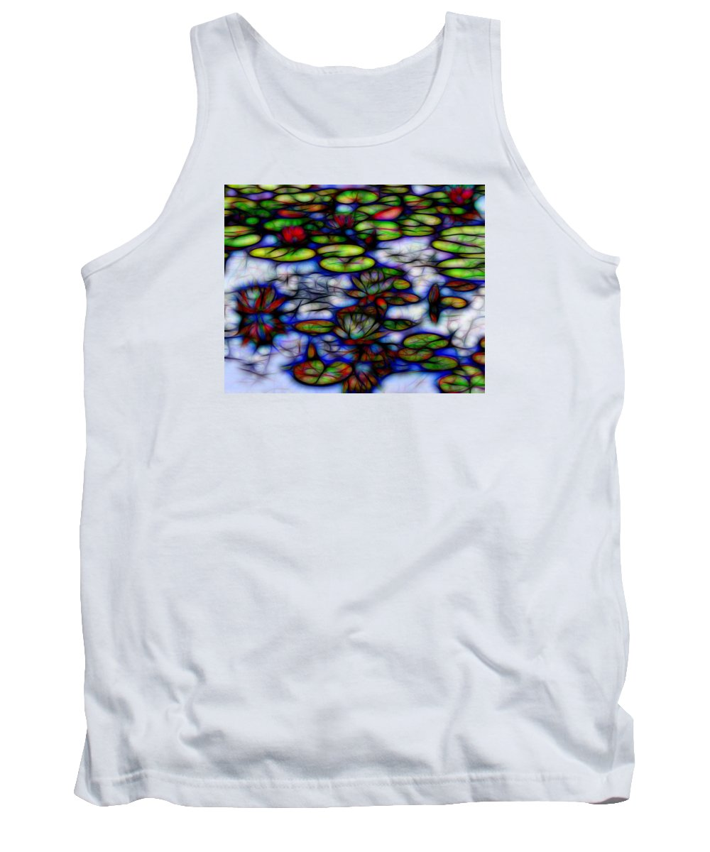 Water Lilies Stained Glass Tank Top featuring the photograph Stained Glass Water Lilies by Daniel DiBernardo