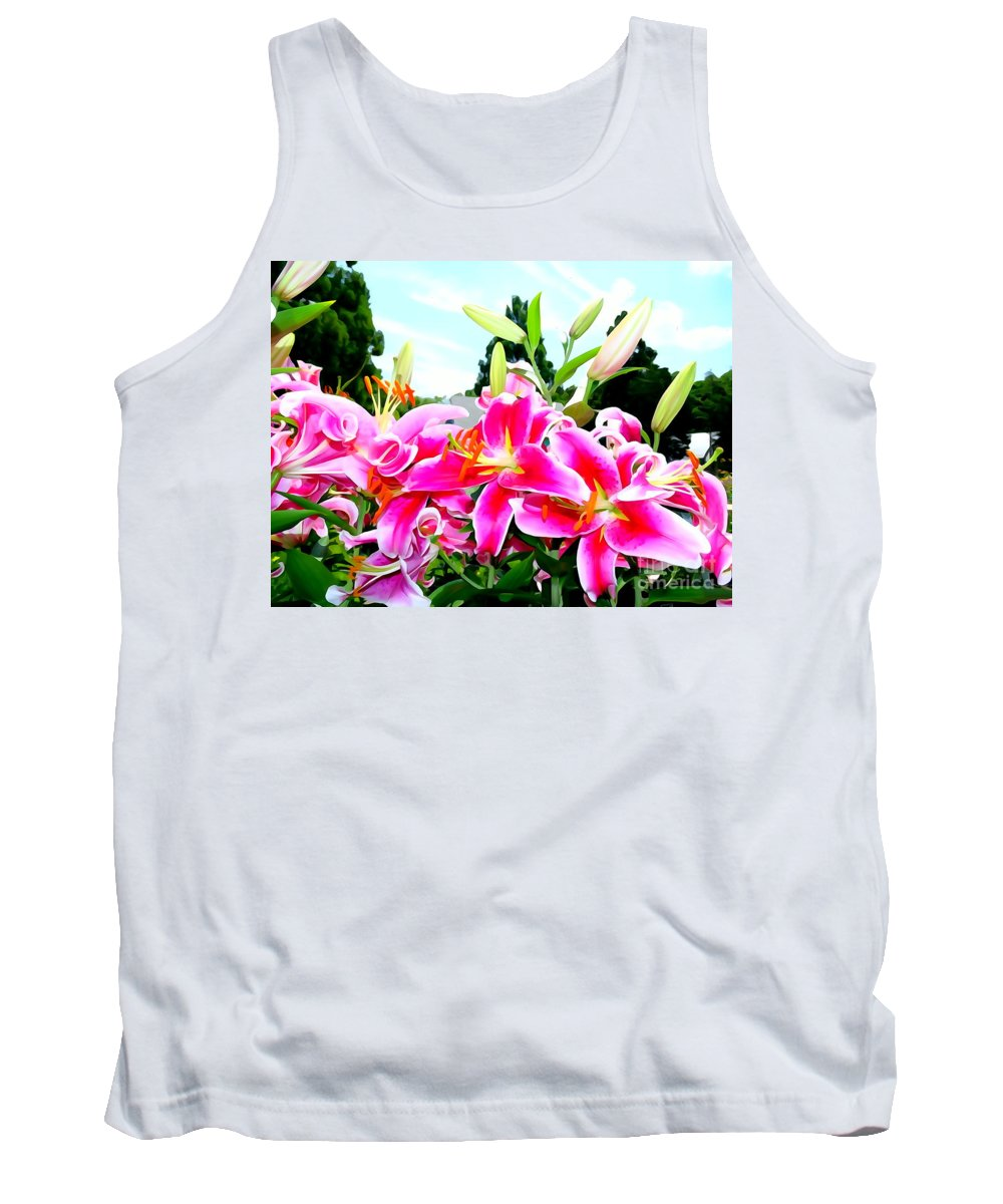 Abstract Tank Top featuring the photograph Stargazer Lilies #1 by Ed Weidman