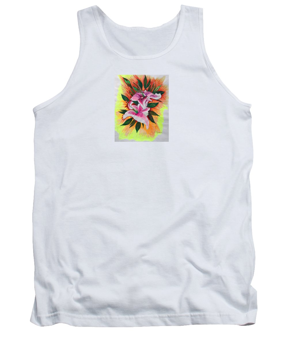 Flowers Tank Top featuring the drawing Stargazers by J R Seymour