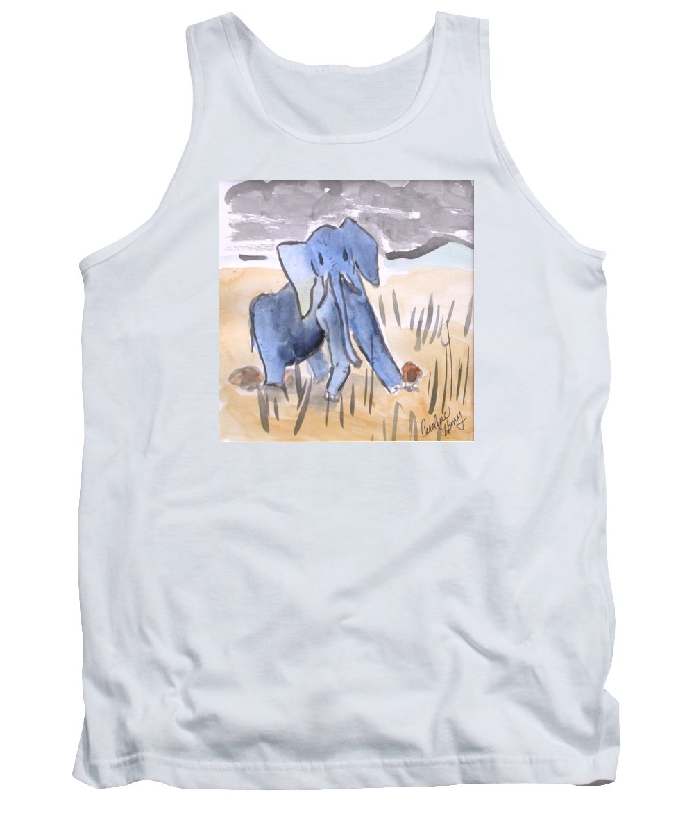 Elephant Tank Top featuring the painting Startled Elephant by Caroline Henry