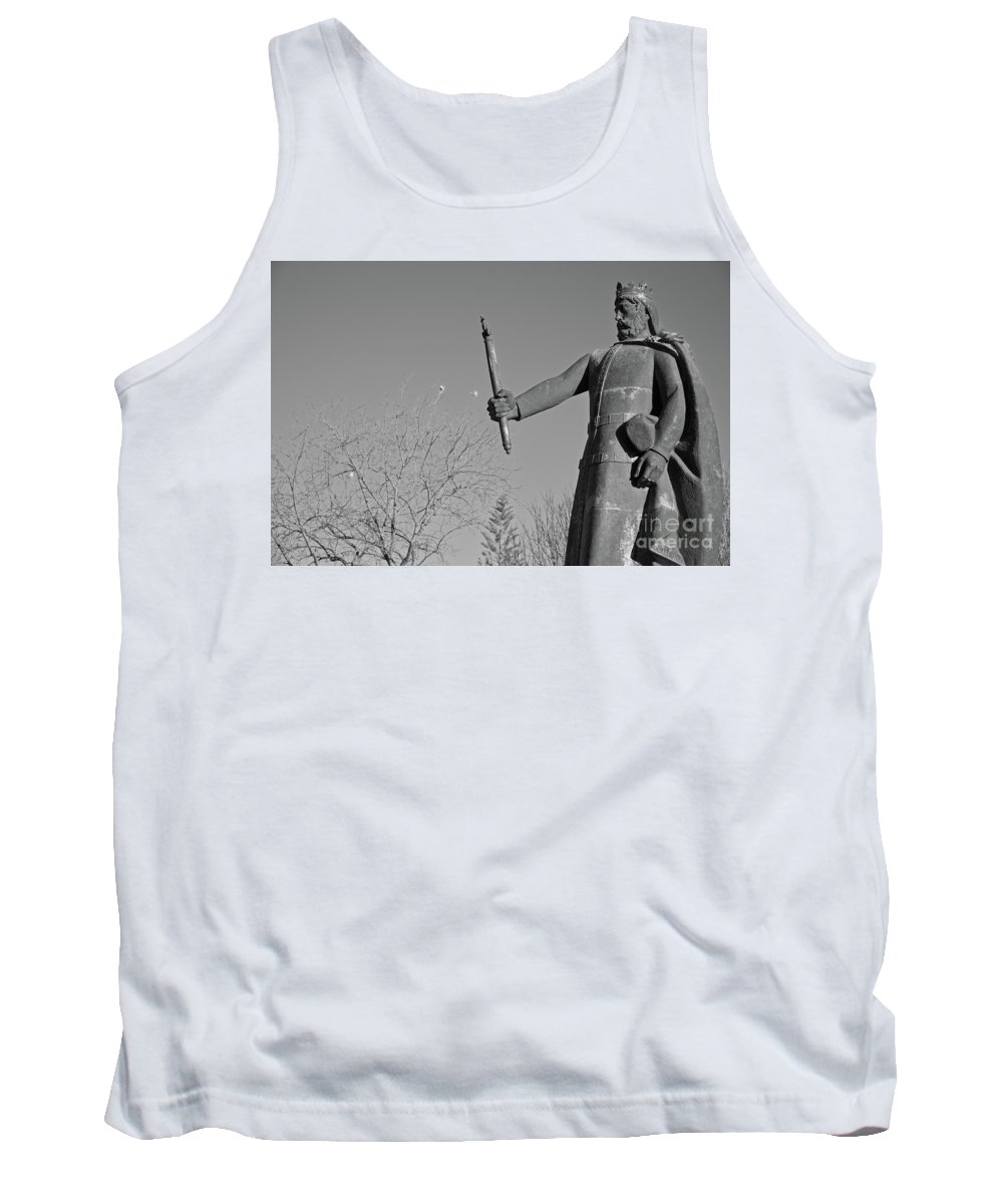 Black And White Tank Top featuring the photograph Statue Of King Afonso The Third. Portugal by Angelo DeVal