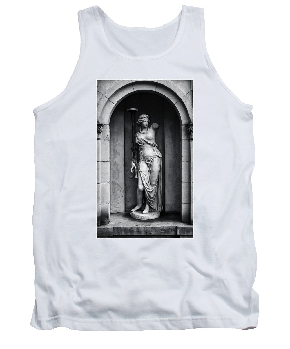 Black And White Tank Top featuring the photograph Statue Under Cover by Scott Wyatt