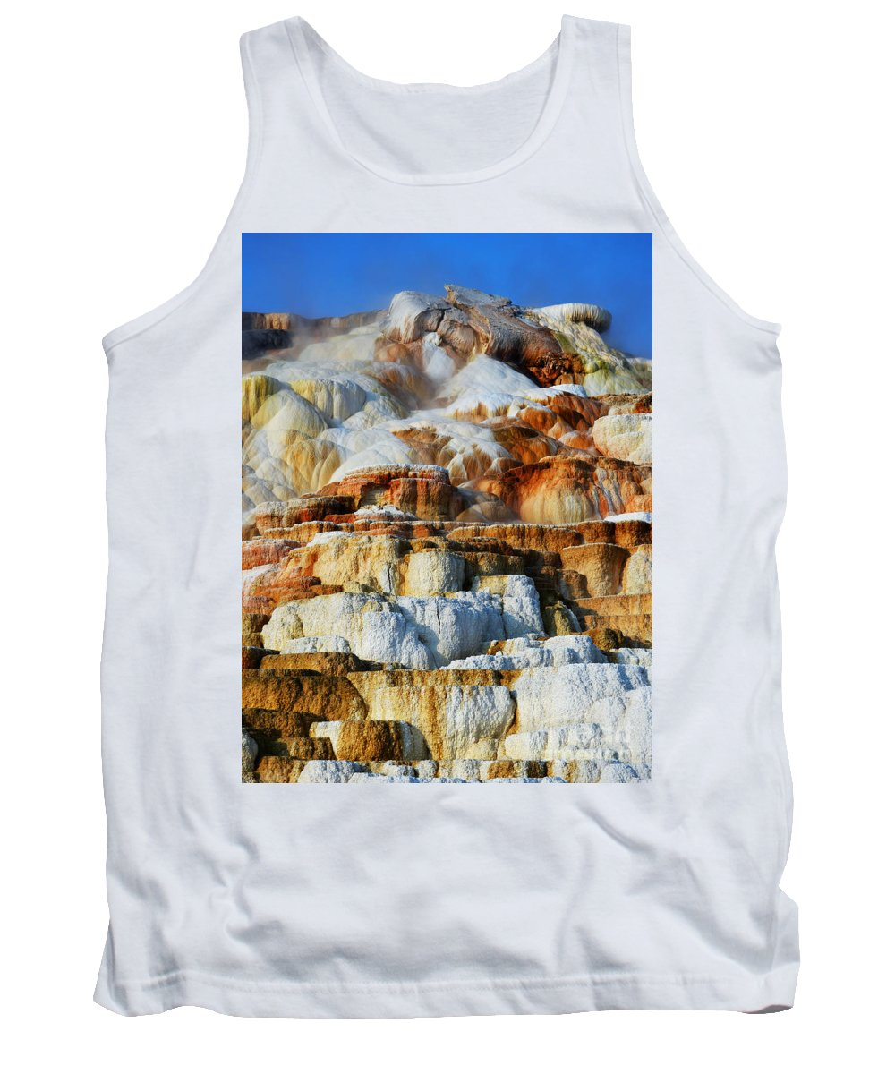 Yellowstone Tank Top featuring the photograph Steamy Travertine Hot Spring Terraces Mammoth Hot Springs Yellowstone National Park by Shawn O'Brien