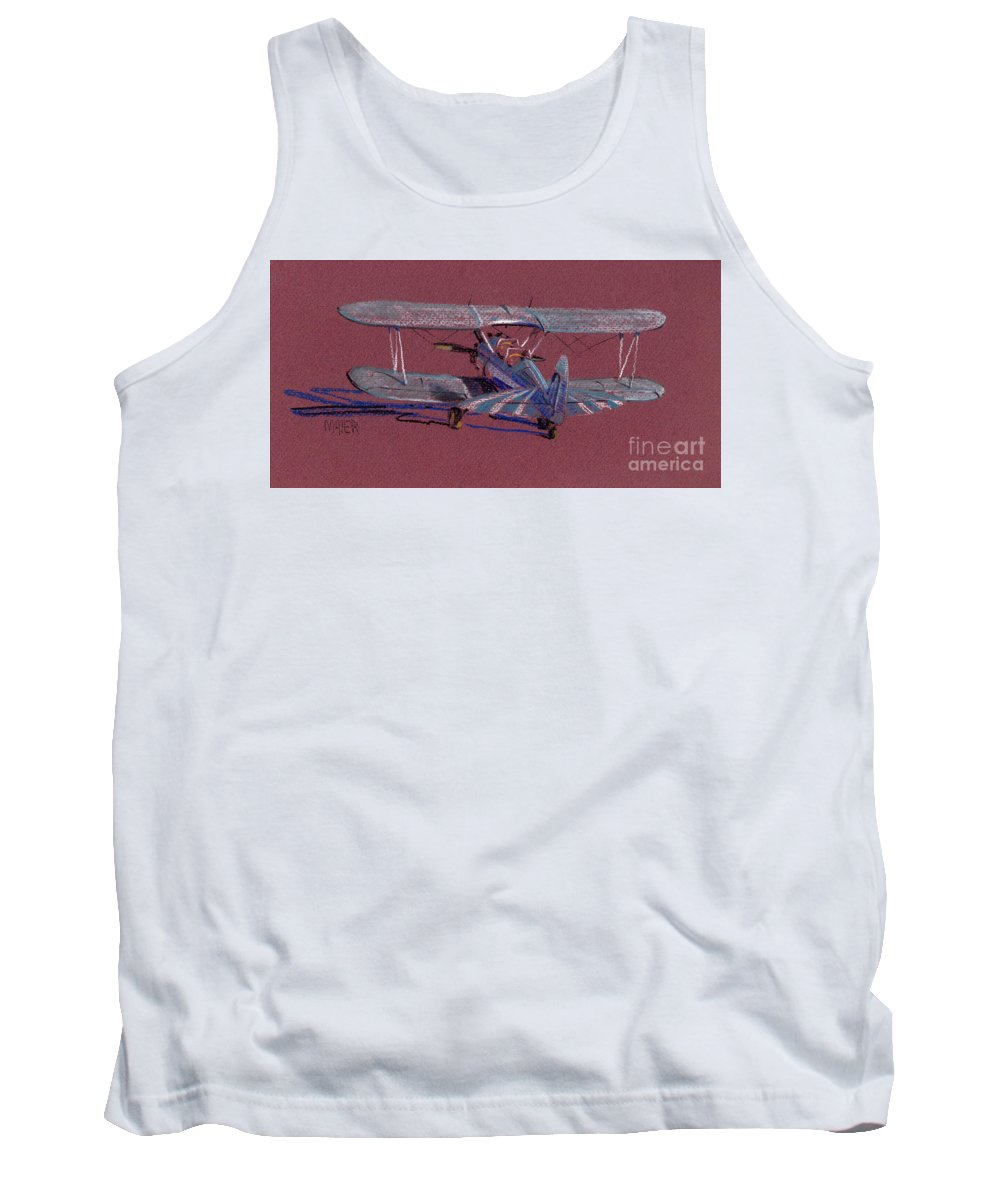 Steerman Biplane Tank Top featuring the drawing Steerman Biplane by Donald Maier